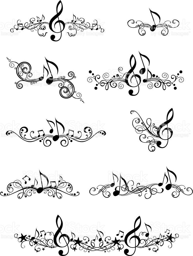 Photo of Ornate music elements and page decorations for your design isolated …