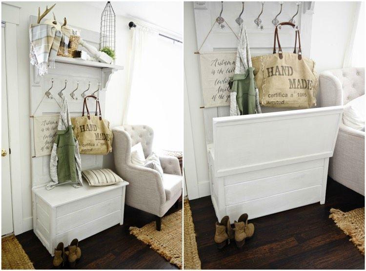 garderobe aus alter t r selber bauen anleitung und weitere ideen tapetenwechsel pinterest. Black Bedroom Furniture Sets. Home Design Ideas