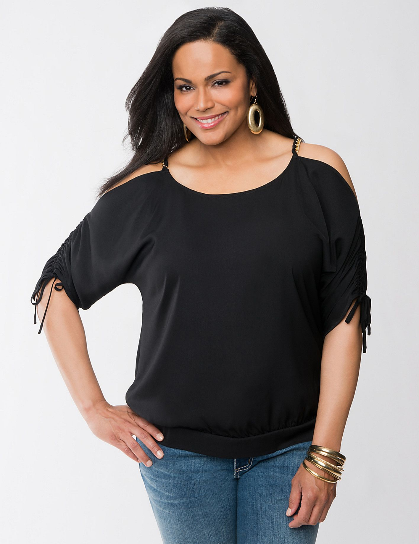 Plus Size Cold Shoulder Top with Chain by Lane Bryant | Sonsi ...