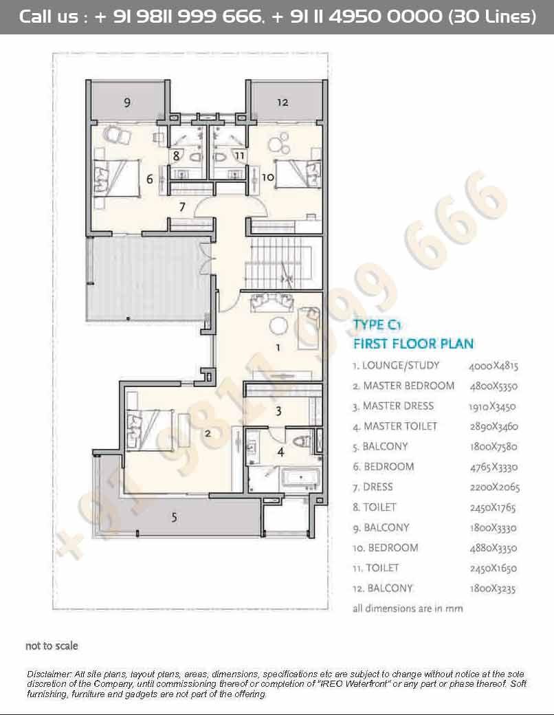 Type C1 First Floor Plan House Construction Plan Floor Plans House Plans