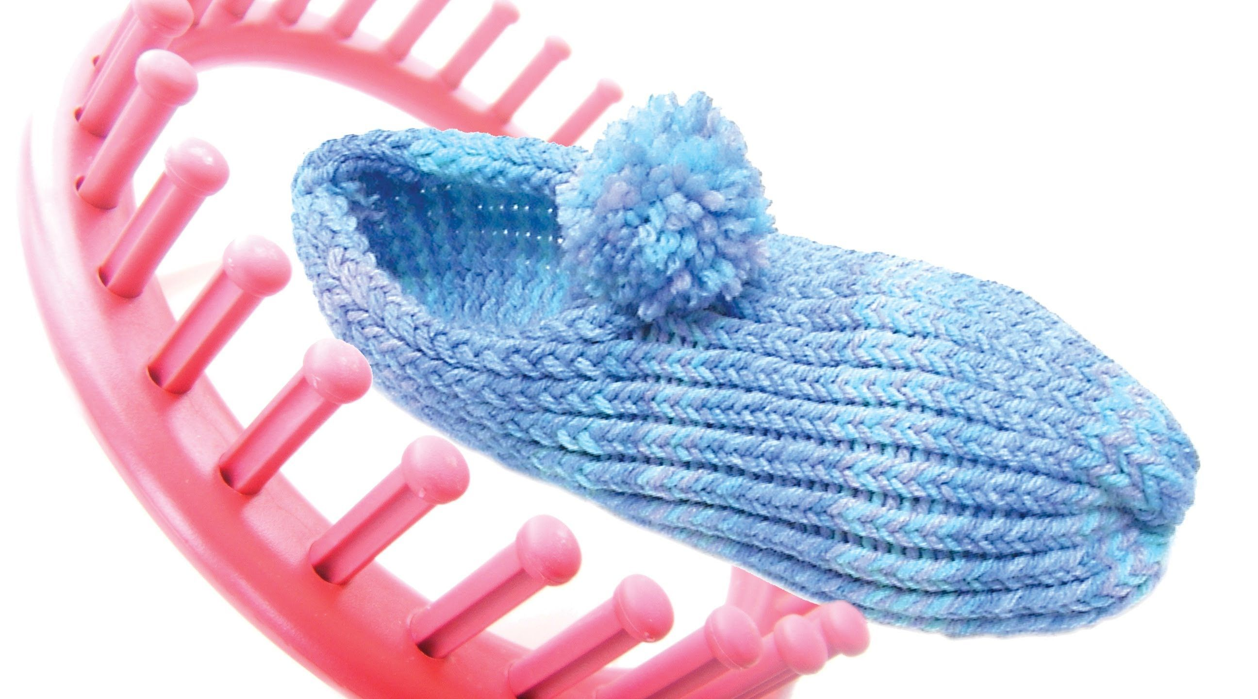Loom Knitting Slippers : Loom knit how to make slippers with a peg round