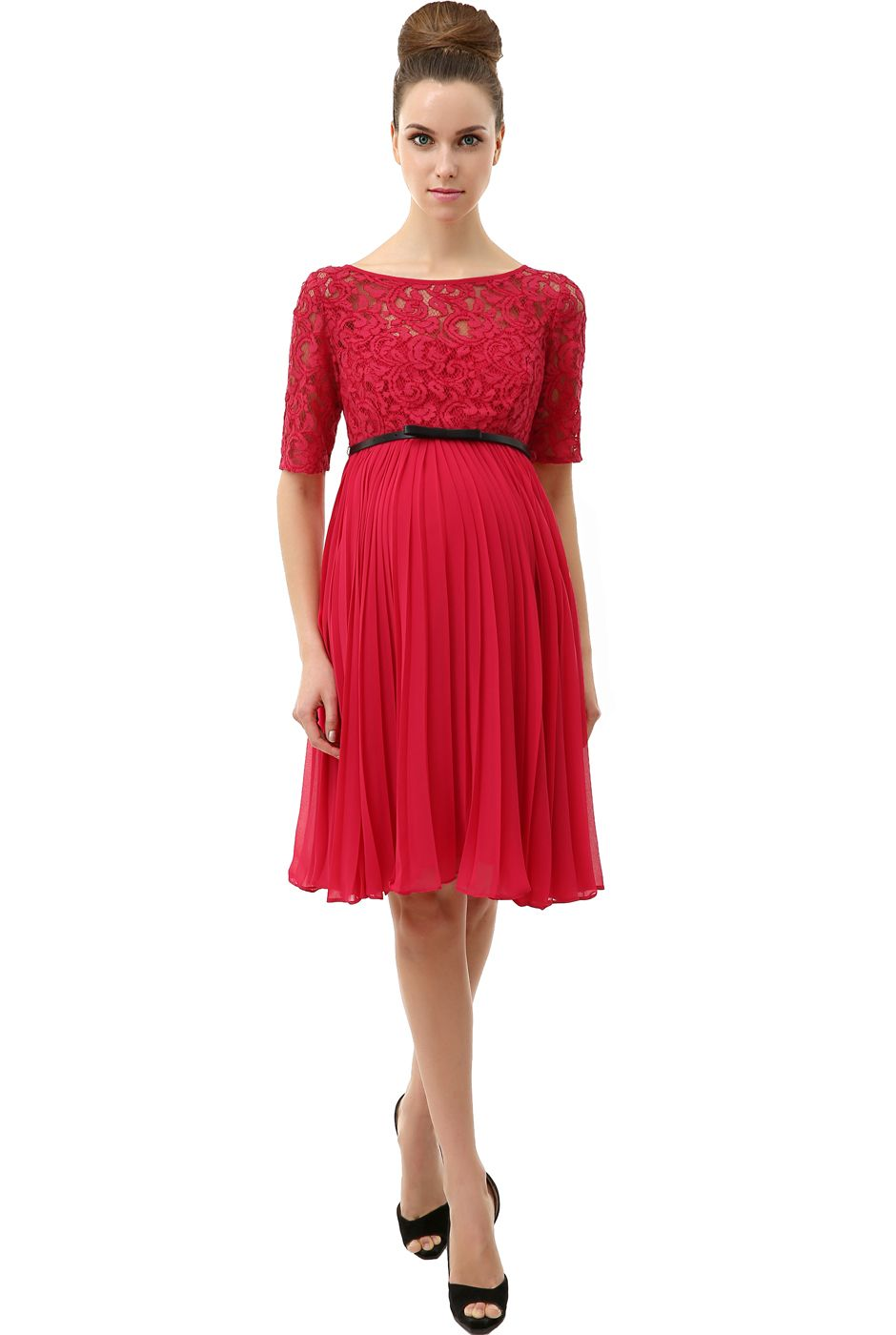 Momo maternity raspberry alice pleated lace fit flare dress momo maternity raspberry alice pleated lace fit flare dress ombrellifo Images