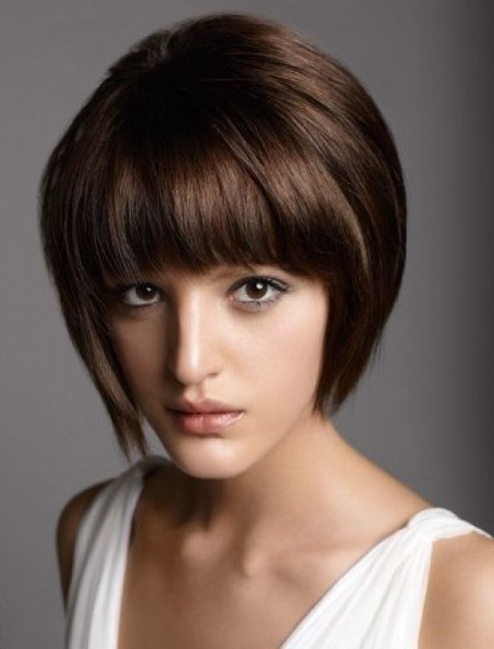 Short Stacked Bob Hairstyles With Bangs Hair Pinterest Short