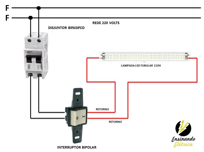 Como Ligar Lampadas Tubular De Led Ensinando Eletrica O Blog Dos Eletricistas Interruptor Duplo Led Interruptor