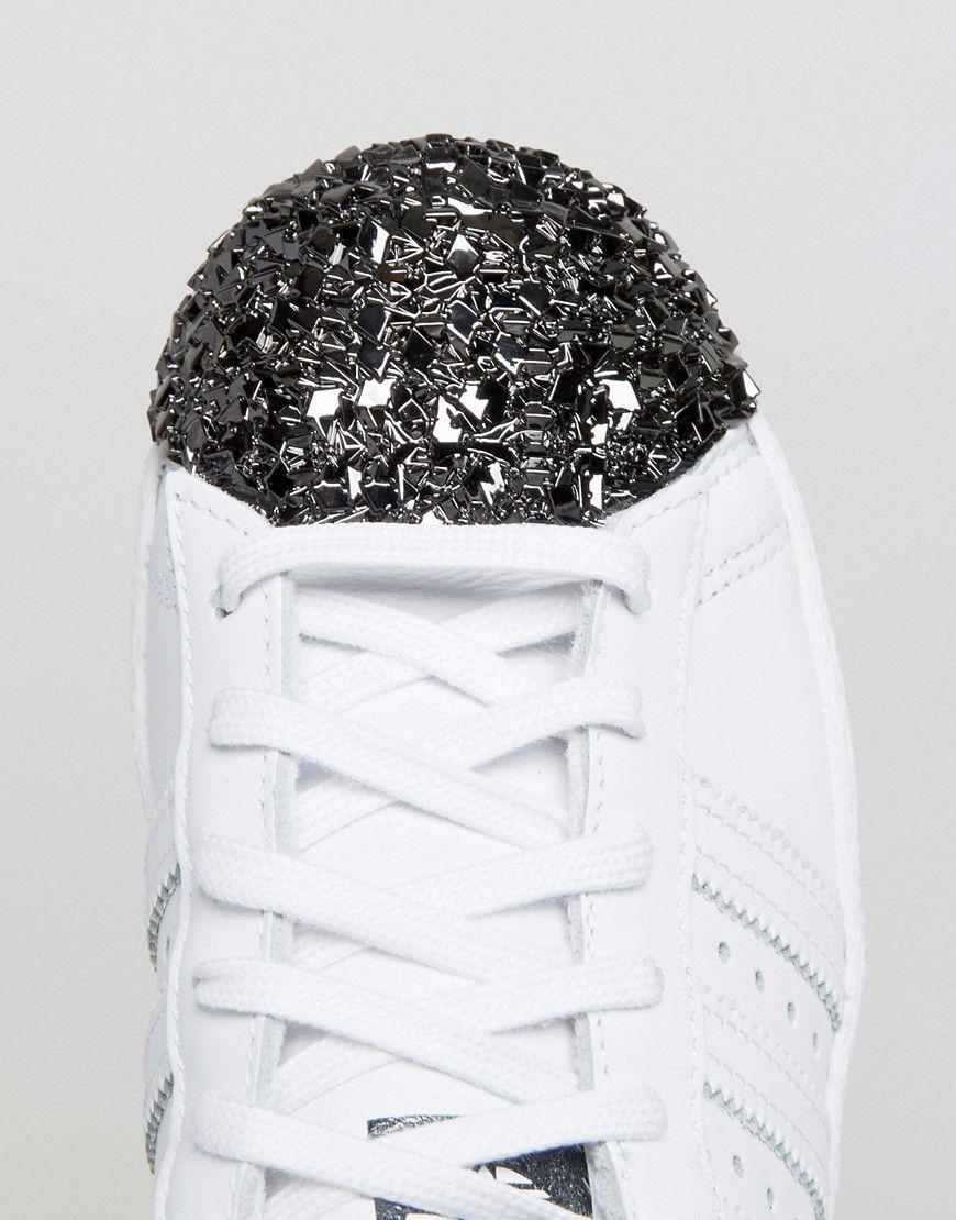 wykwintny design w sprzedaży hurtowej wyglądają dobrze wyprzedaż buty adidas Originals White Superstar Sneakers With Silver Metal ...