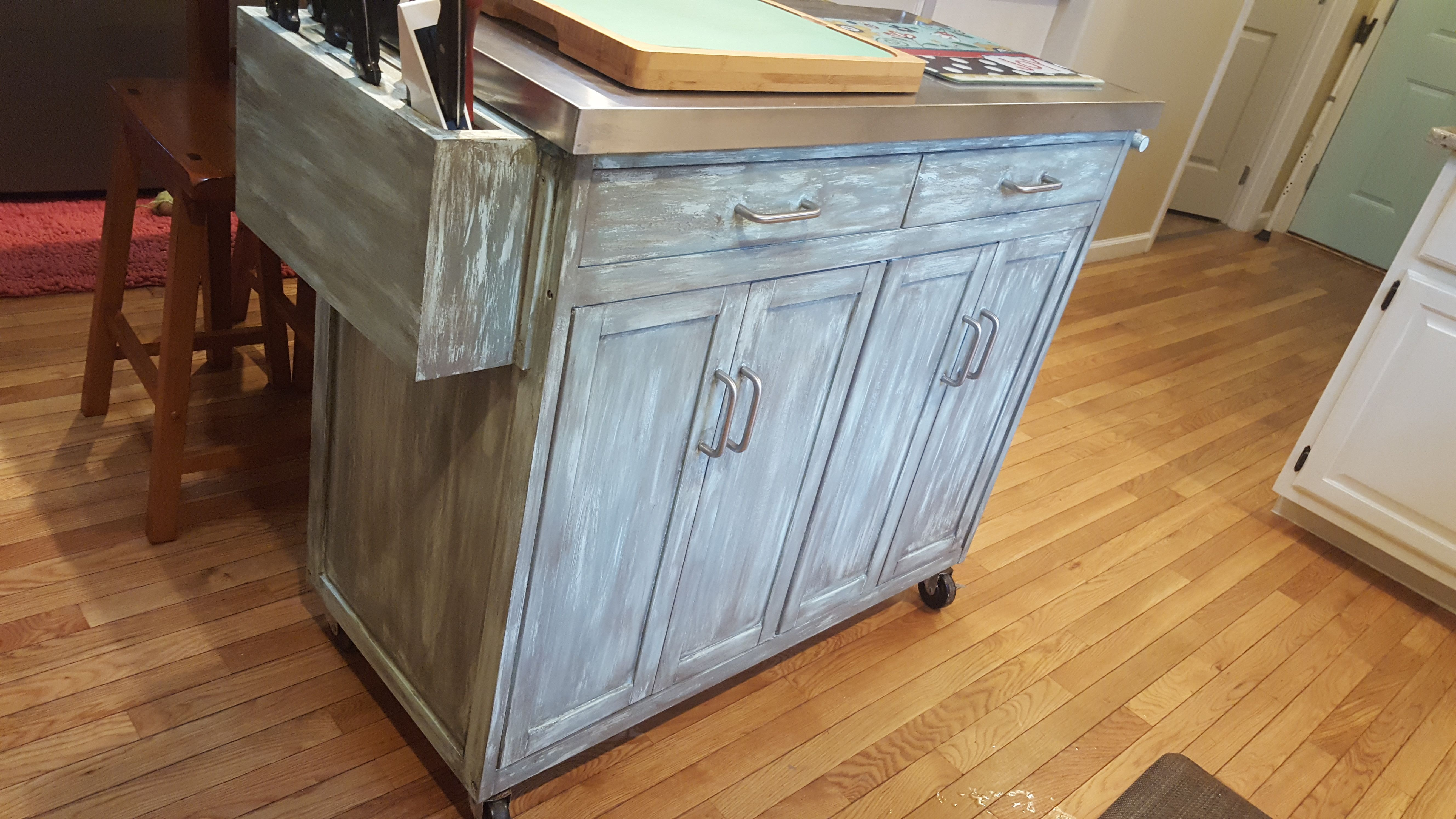 Painted mobile kitchen island with Chalky Chicks Beechwood and ...