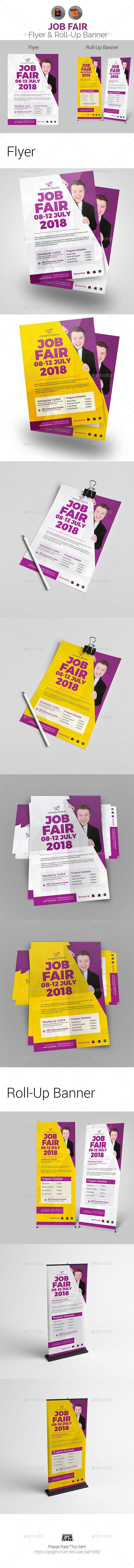 job career fair flyer roll up banner print templates roll up
