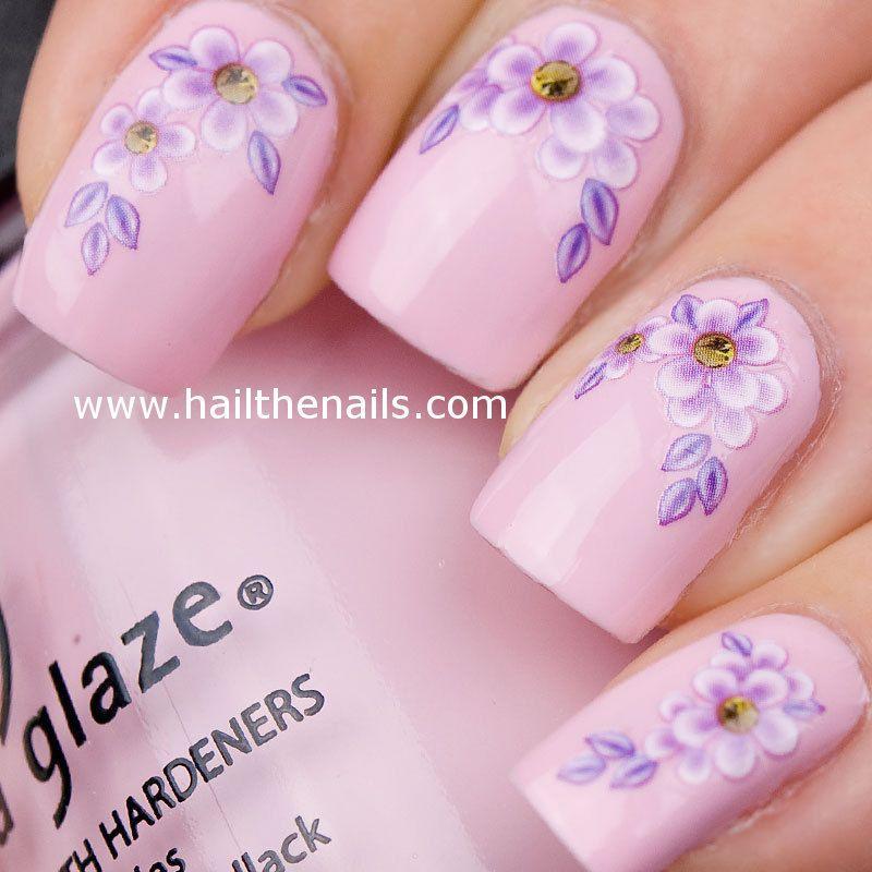 Pink Lavender Nails Flower Nails Daisy Nails Flower Nail Art