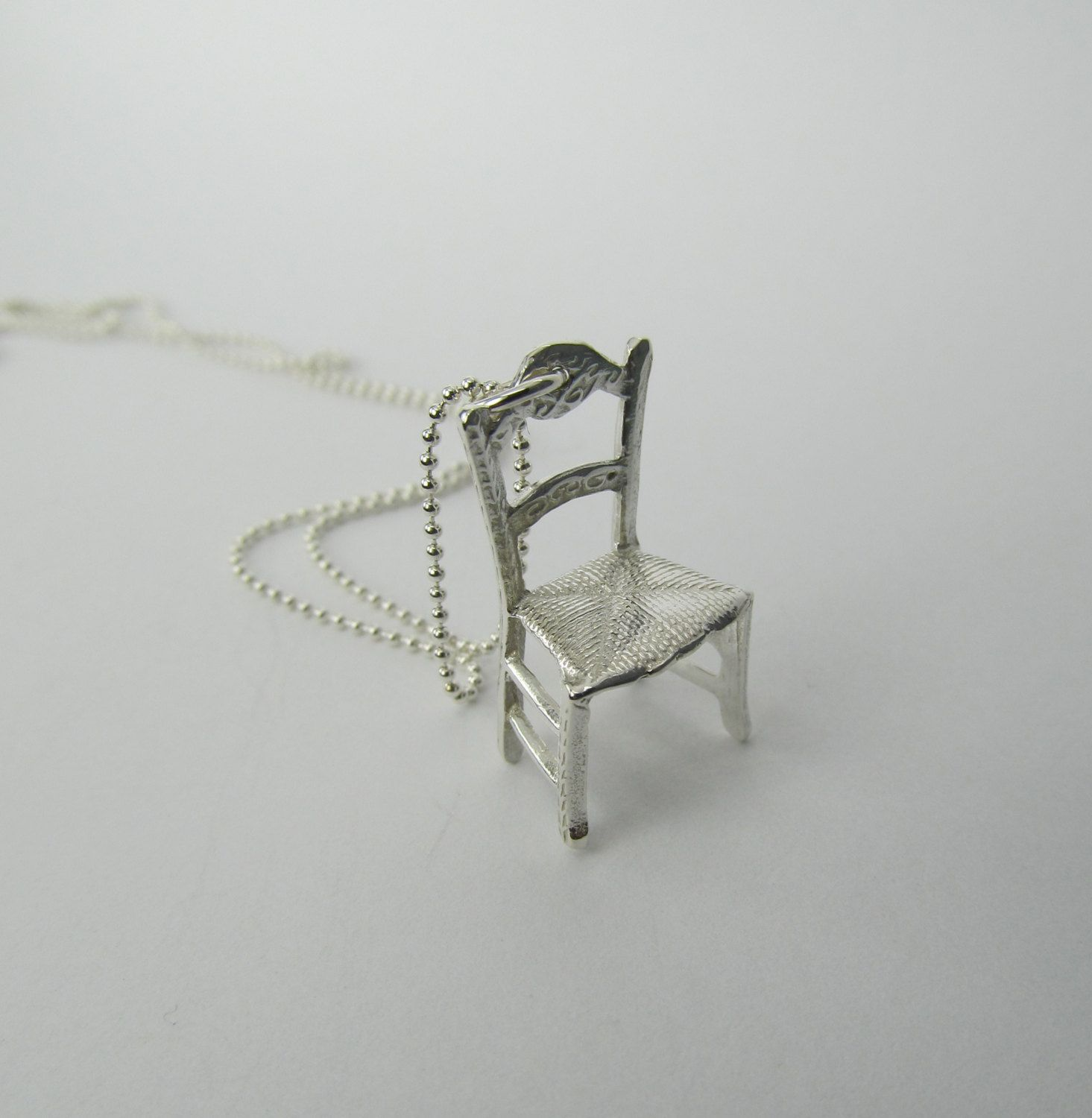 Tiny Chair Necklace Sterling Silver Miniature Furniture Joyeria