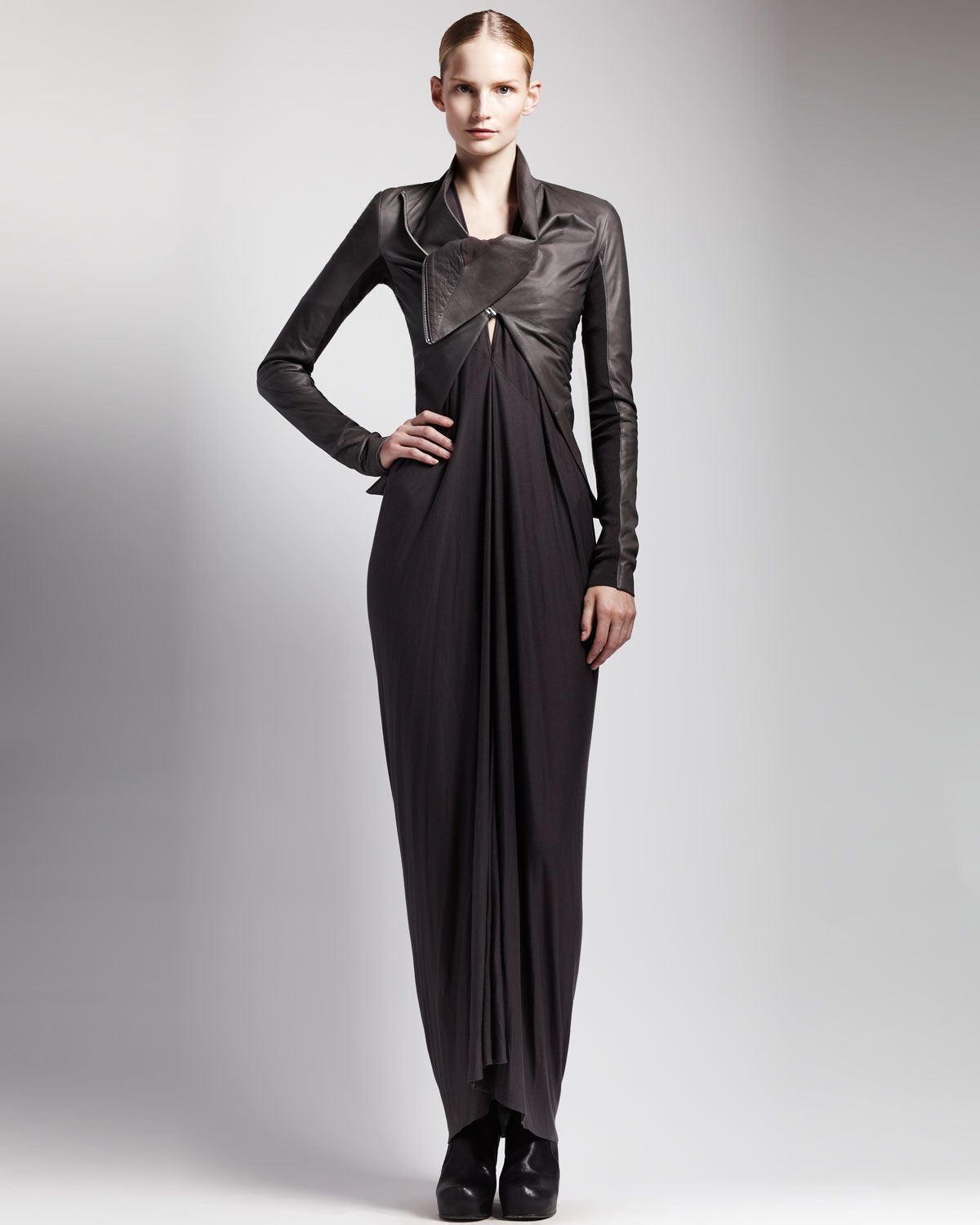 High-Low Leather Jacket & Jersey Kite Dress by Rick Owens at Bergdorf  Goodman. Fuuuuuuuuuuck who do I have to rob to get this fly leather jacket!