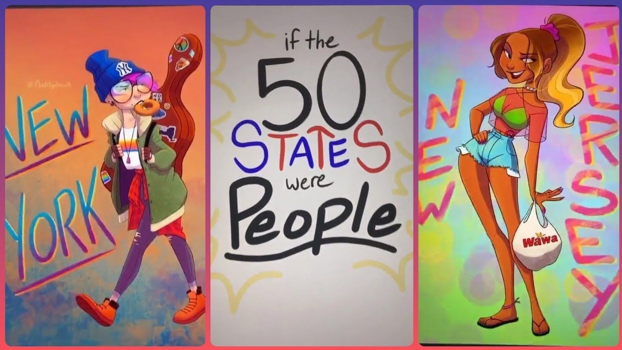 If The 50 States Were People 20 50 Tiktok Compilation From Auditydraws Youtube Drawing People People Art Artwork