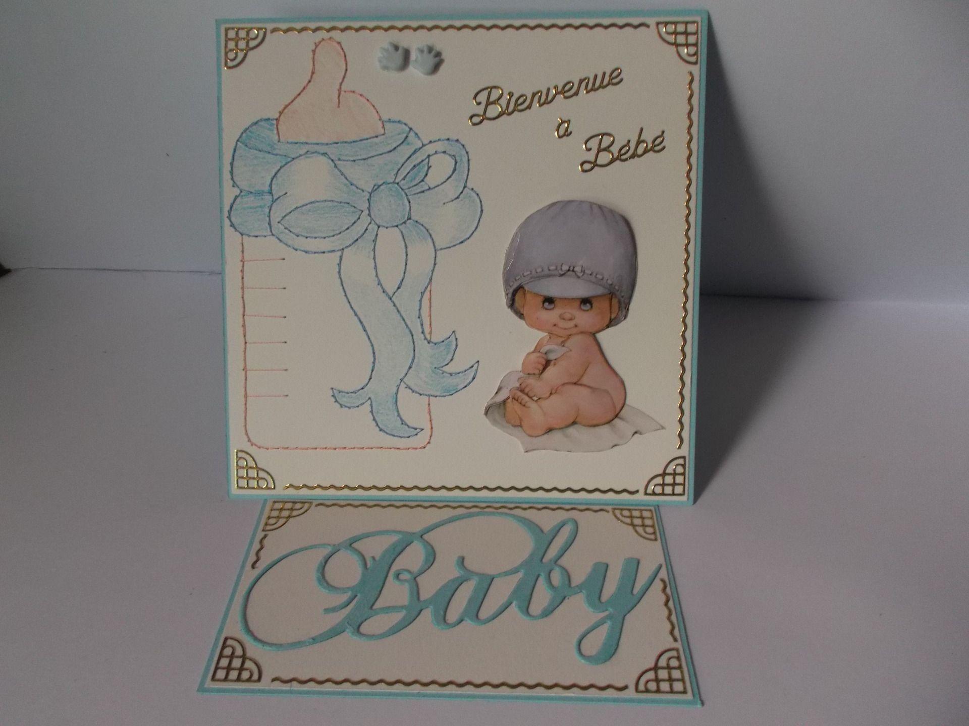 carte 3 D brodée main + naissance garçon : Cartes par chouet-id