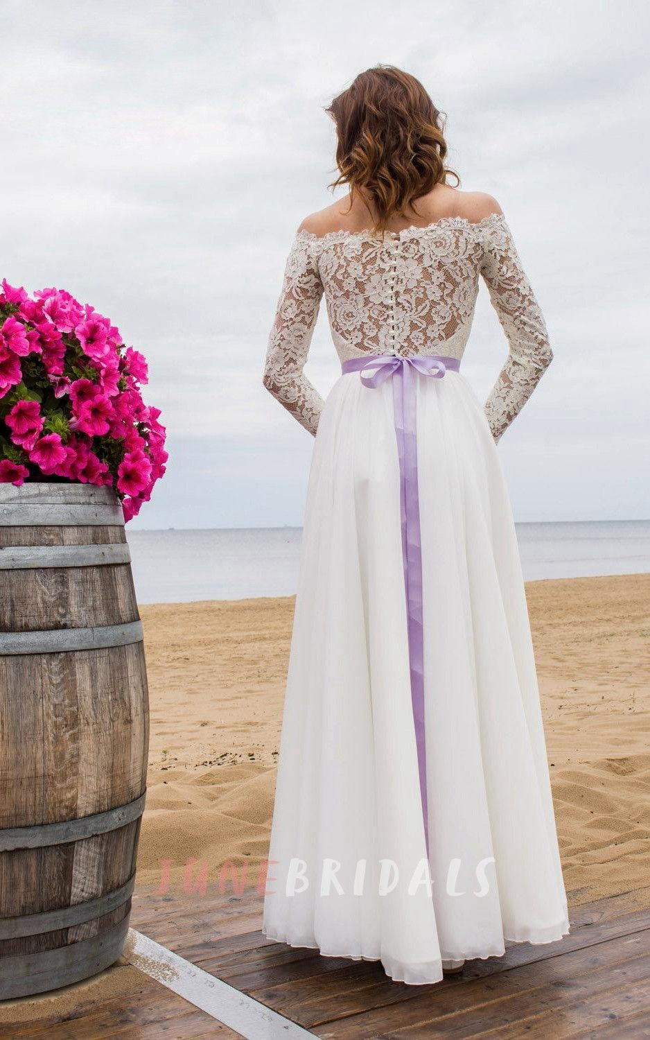 Offshoulder long sleeve closed sheer back wedding dress with