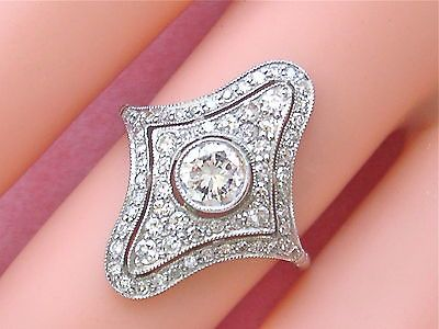 ESTATE EDWARDIAN STYLE 1.10ctw DIAMOND PLATINUM COCKTAIL RING