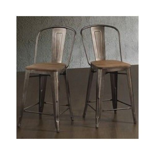 Rustic Bar Stools Industrial Wood Metal Kitchen Counter Height Stool