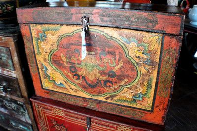 "31"" wide Chinese old trunk painted box orange yellow green flowers"