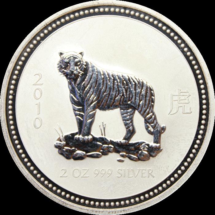 China 2010 10 Yuan 1 oz Silver Colored Proof Year of Tiger Box no coin