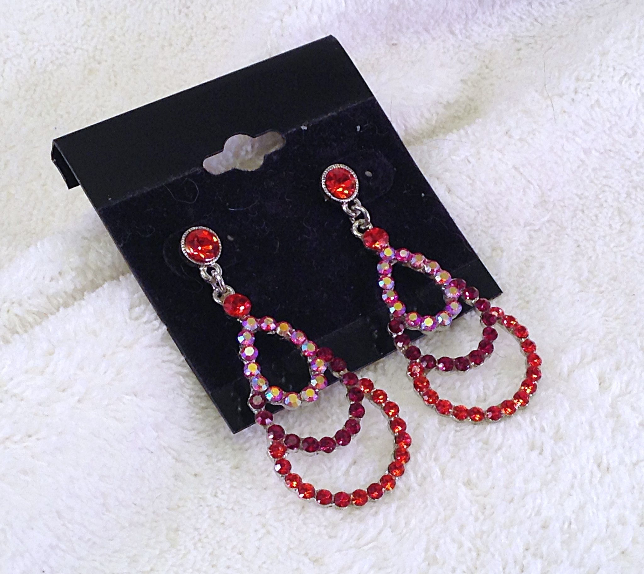 Siam red crystals with ab accent stones on small chandelier earrings siam red crystals with ab accent stones on small chandelier earrings arubaitofo Choice Image