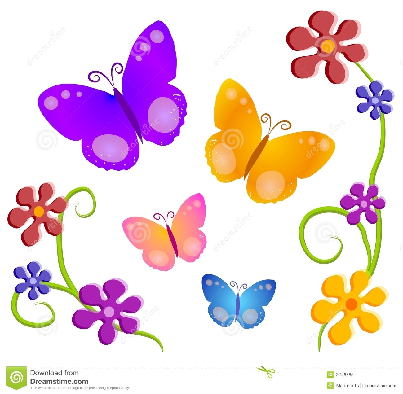 cartoon flowers clip art butterfly and flowers illustration in rh pinterest com butterflies and flowers clipart black and white clipart butterflies and flowers