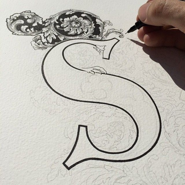 """Beautiful #WIP shot by @eddyartist  #goodtype #strengthinletters #letters #lettering #handletter #handdrawn #handtype #typography #flourish #s #handlettering #filigree"" Photo taken by @goodtype on Instagram, pinned via the InstaPin iOS App! http://www.instapinapp.com (04/07/2015)"