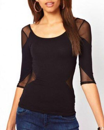 615fa5c1a2633 Splice mesh t shirt for women plain black three quarter sleeve tops ...