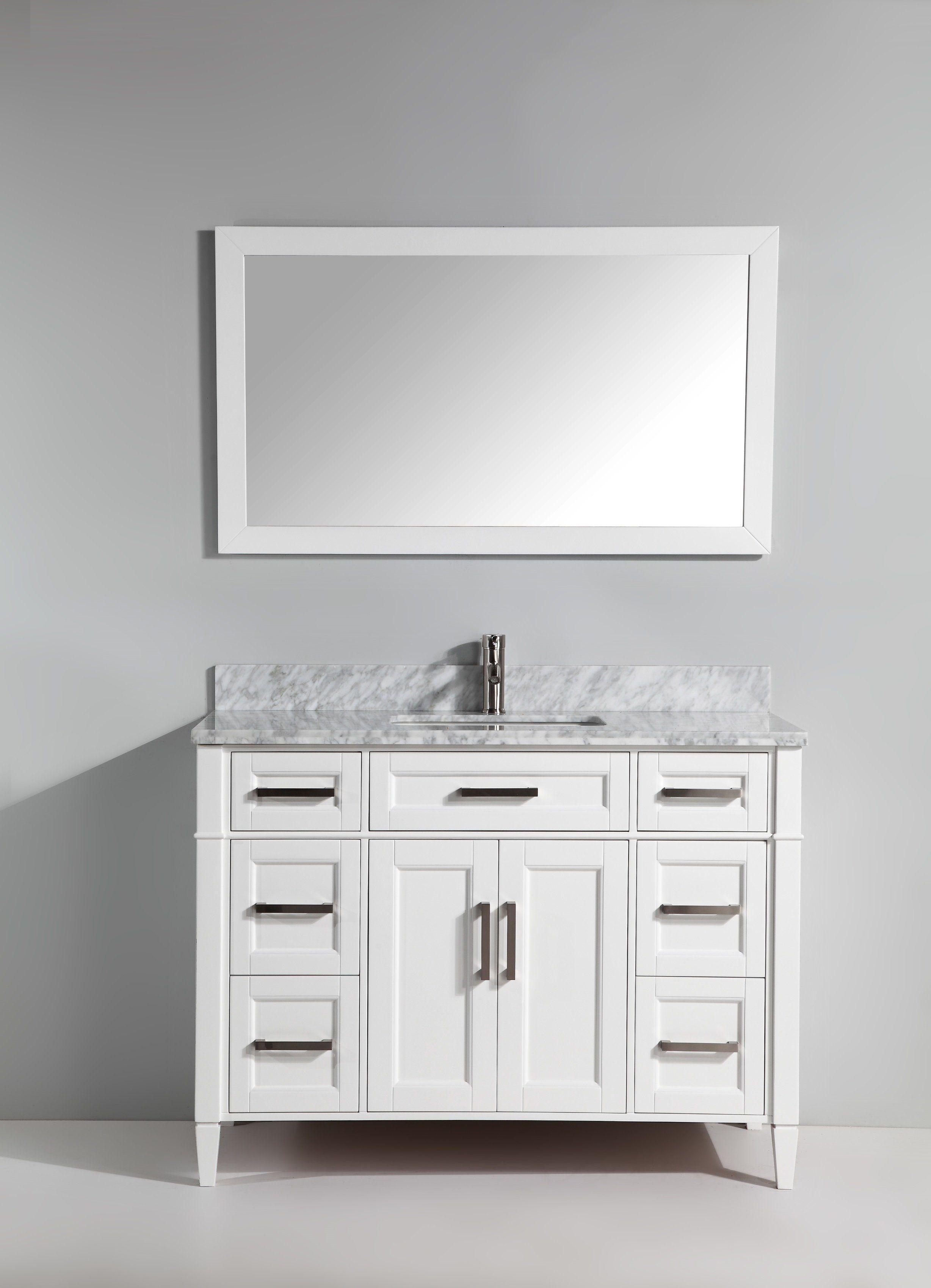 Gracie Oaks Lachine 48 Single Bathroom Vanity Set With Mirror Wayfair Bathroom Vanity Bathroom Sink Vanity 48 Inch Bathroom Vanity