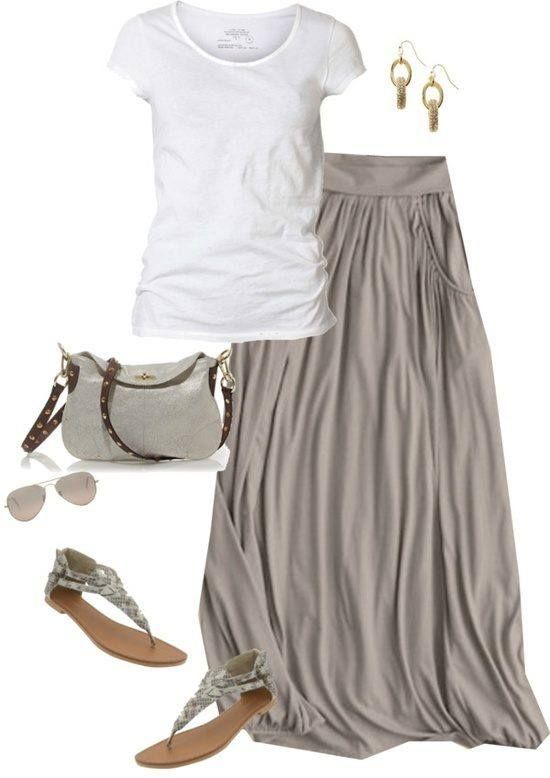 Love this outfit.  Flowing grey skirt, white t-shirt and sandals