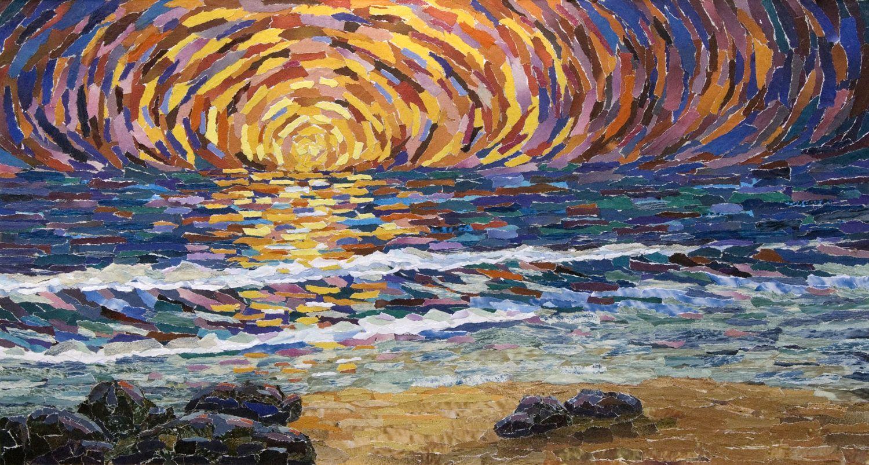 Winter Sunset Mosaic Mosaics - Seascapes
