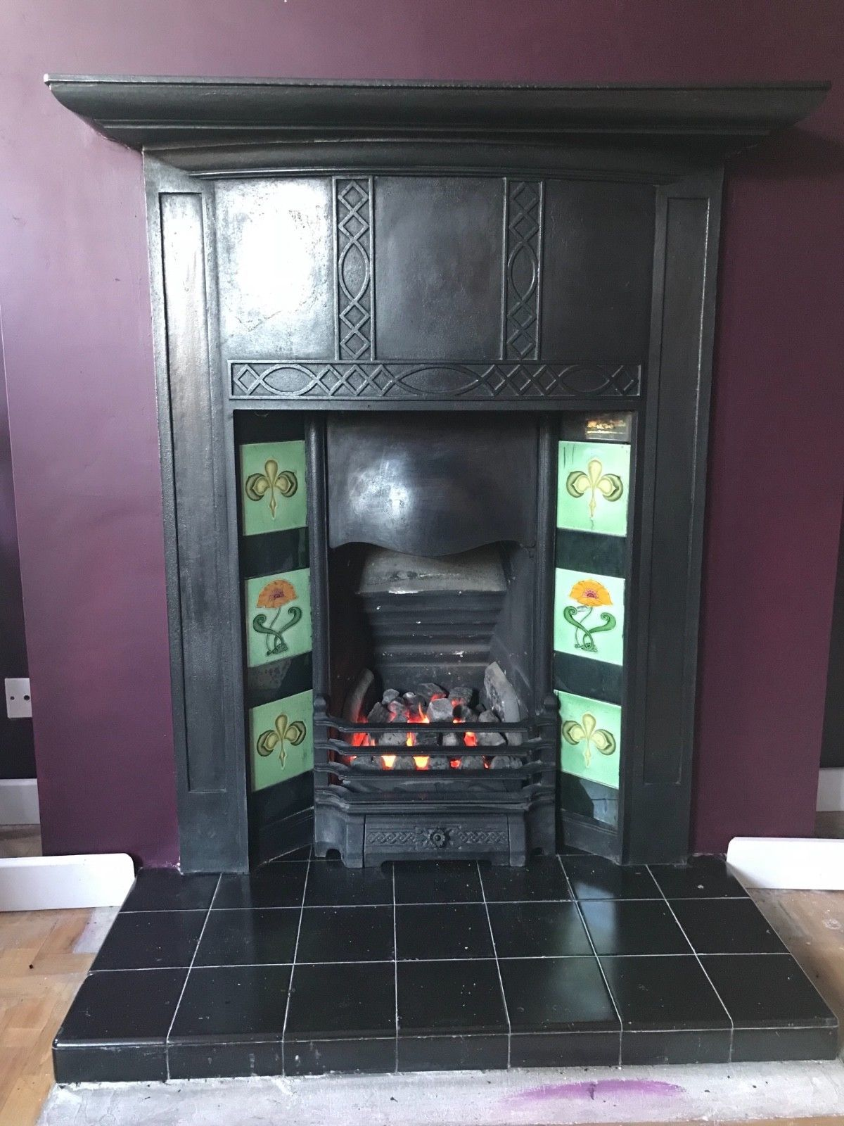 Antique Arts And Craft From Hull 85 Combination Fireplace Remove Tiles Add Fireback Re Polish In An Antique Black Tile Removal Antique Fireplace Fireplace