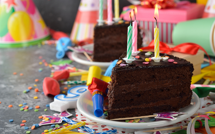 Download wallpapers Happy Birthday chocolate cake candles