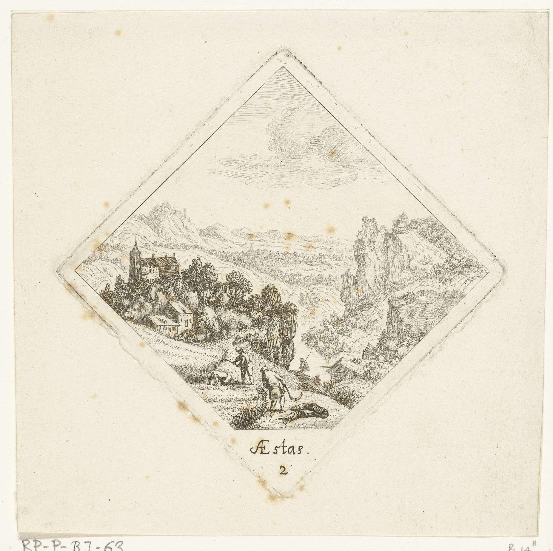Jan van Almeloveen | Zomer, Jan van Almeloveen, Herman Saftleven, 1662 - 1683 | Twee mannen oogsten graan, op de achtergrond een berglandschap met links een dorp.