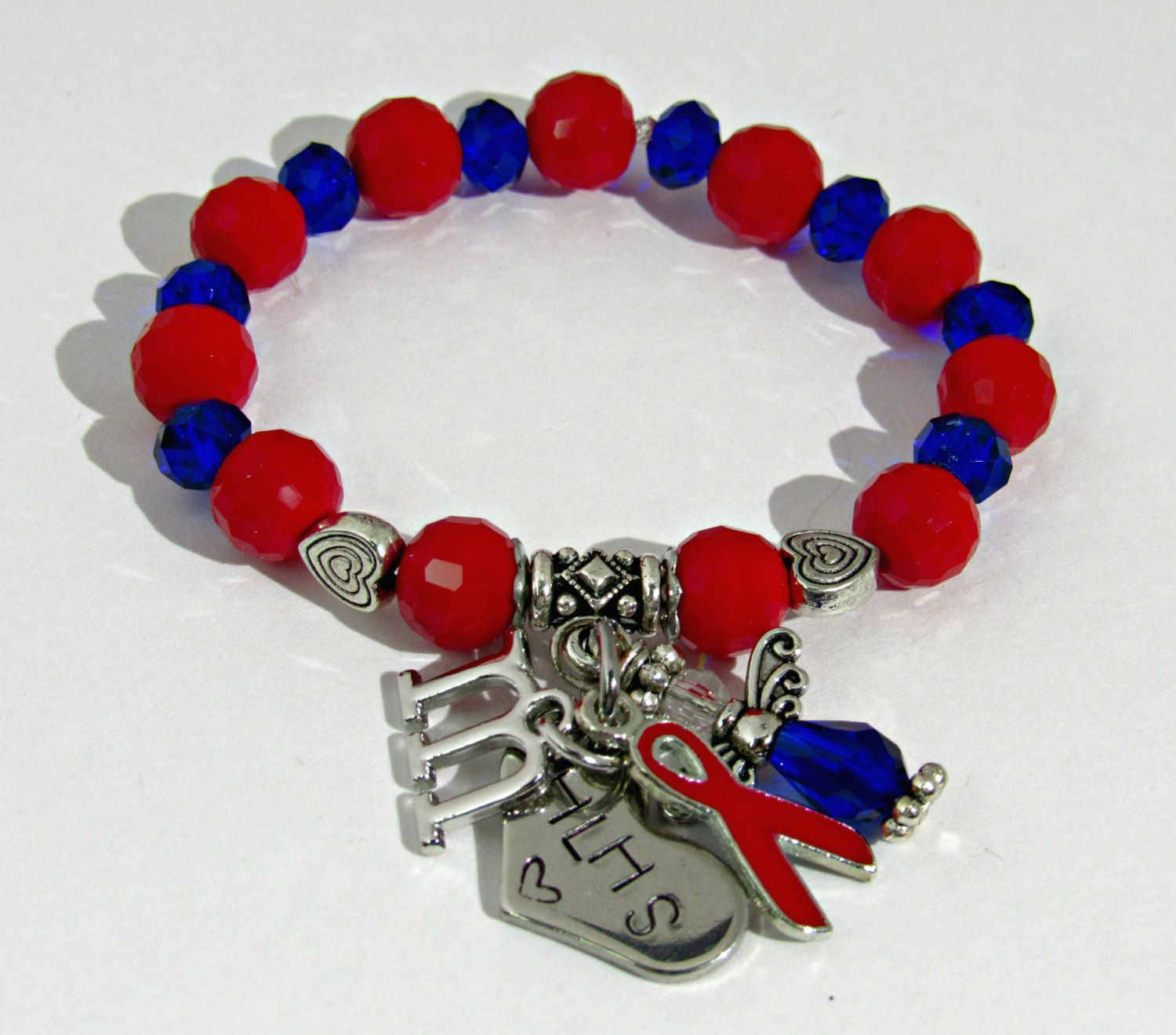 Child S Chd Bracelet Heart Awareness Red And Blue Con Defect Ribbon By Artistryjewels On Etsy