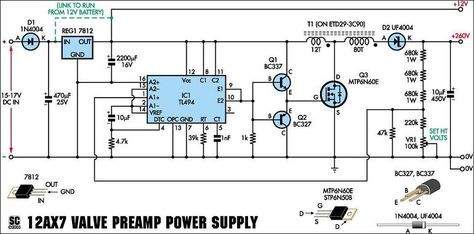 Power Supply Schematic For 12ax7 Preamp Kit