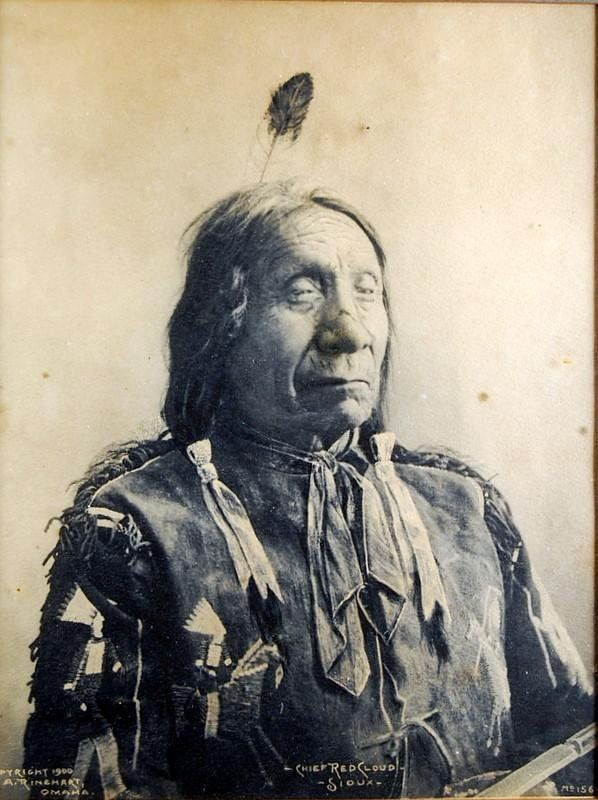 Platinum Print Photograph –Chief Red Cloud, Sioux (Ctr. Btm); by Frank Albert Rinehart (American Feb. 12, 1861-Dec. 17, 1928), famous for his drawings, paintings & photographs depicting Native American personalities and scenes, especially the leaders and members of the delegations who attended the 1898 Indian Congress in Omaha. Copyright, 1900