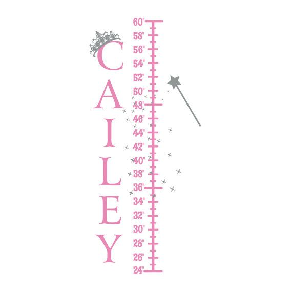 Princess Growth Chart Personalized Vinyl Name Wall Decal With