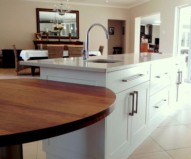 Wood Table Attached To Island Contemporary Kitchen Kitchen Remodel Kitchen Island With Seating