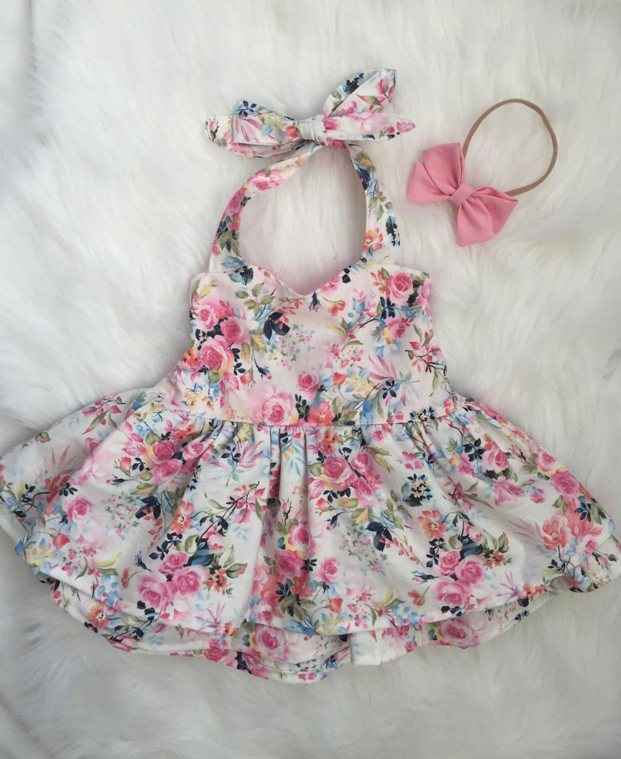 Baby girl summer white floral sweetheat halter shirred dress by
