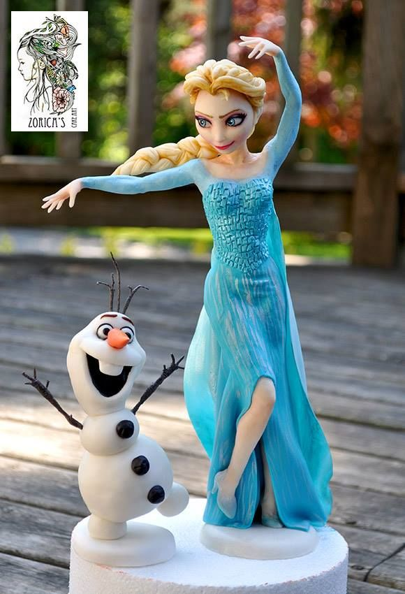 Elsa and Olaf fondant toppers