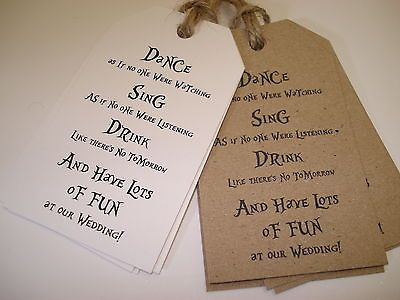 20 Vintage/Shabby Chic Style Wedding Favour Tags - Dance, Sing, Drink[Brown]