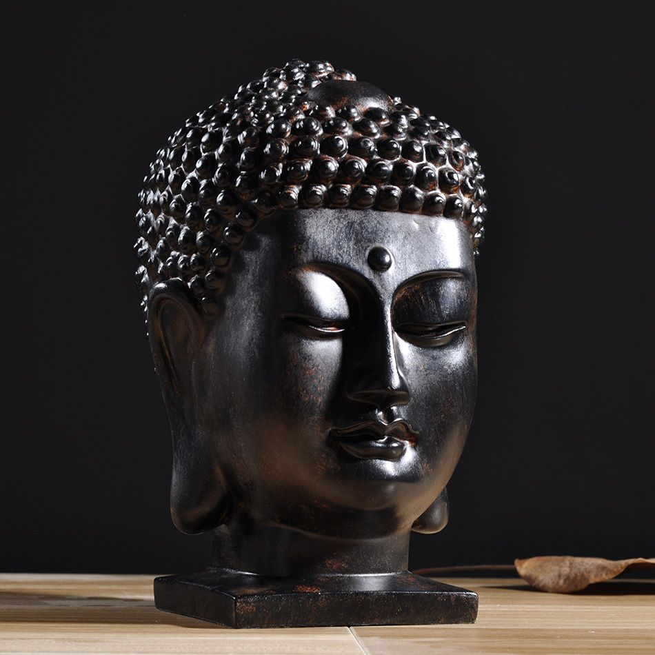 creative retro buddha head figurine decoration vintage Buddhist statues Feng Shui resin ornaments new arrival home decors
