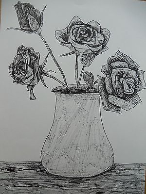 Original Pen Drawing Of Vase Of Roses A4 Signed Art A4 Originals