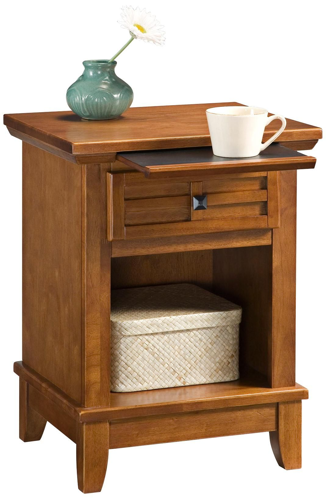 Arts And Craft Oak Lattice Pull Out Tray Night Stand   LampsPlus.com