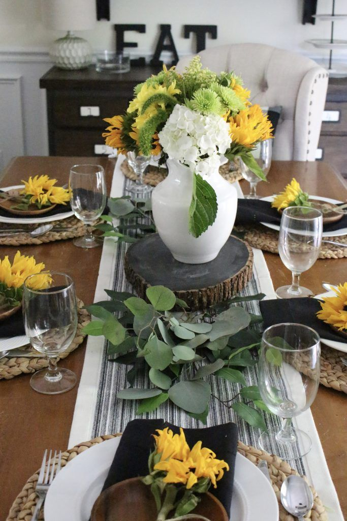 Tablescape Tips Tricks White Cottage Home Living Summer Dining Table Decor Dining Table Decor Summer Dining #sunflower #living #room #decor #ideas