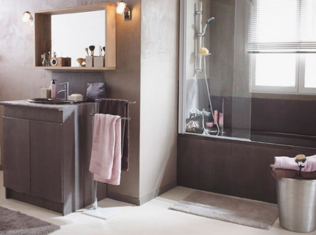 15 exemples pour accorder le taupe sa d co salles de bain pinterest salle de bain salle - Salle de bain rose pale ...