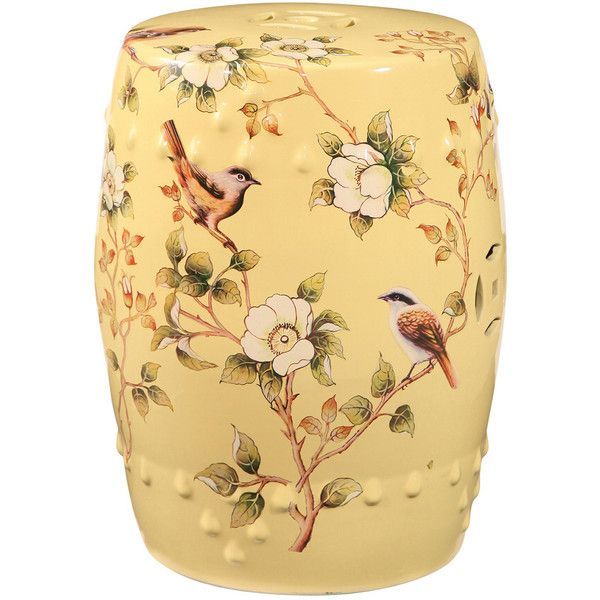 Sumida Hand Painted Floral Ceramic Garden Stool ($100) ❤ Liked On Polyvore  Featuring Home, Outdoors, Patio Furniture, Outdoor Stools, Nocolor, ...