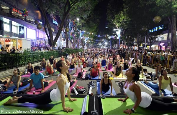 Almost 900 People Practised Yoga And Turned Orchard Road Into An