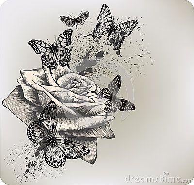 Hintergrund mit dem Rosen- und Schmetterlingsfliegen. Vecto von Murka34, über Dreamstime  #dem #Dreamstime #hintergrund #mit #Murka34 #rosen #Schmetterlingsfliegen #über #und #vecto #von