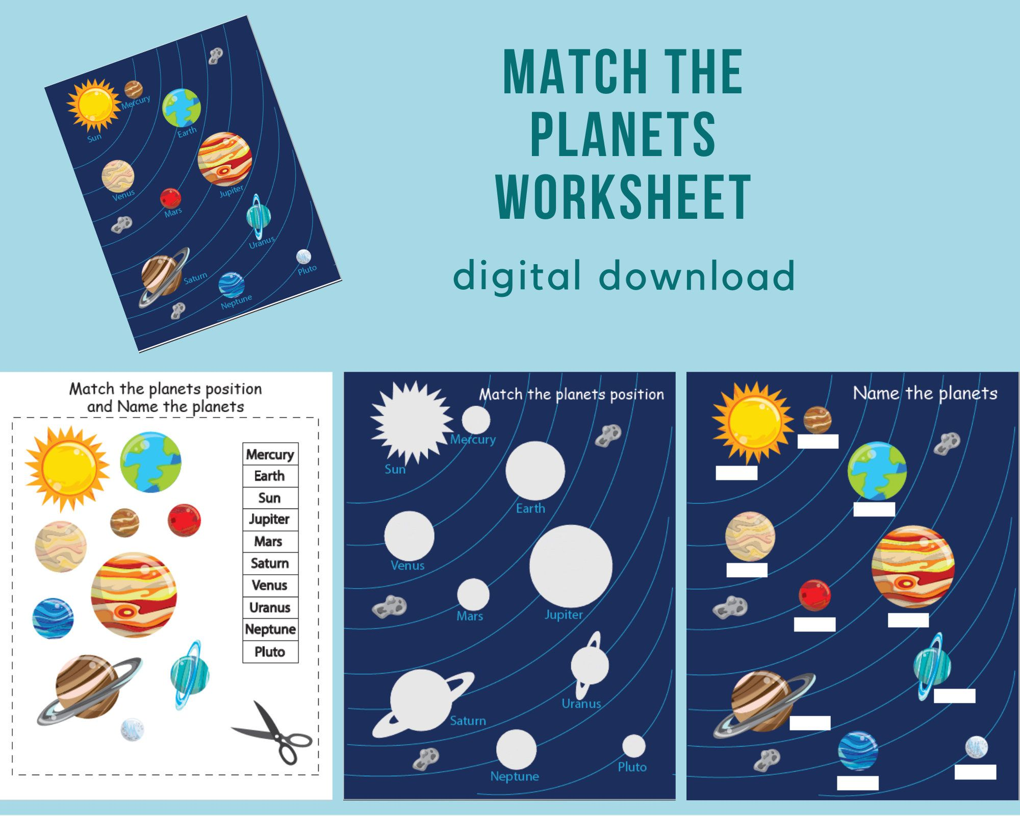 Match The Planets Worksheet Solar System Printable Busy Book Page Matching Game Busy Book Kindergarten Books Educational Printables [ 1600 x 2000 Pixel ]