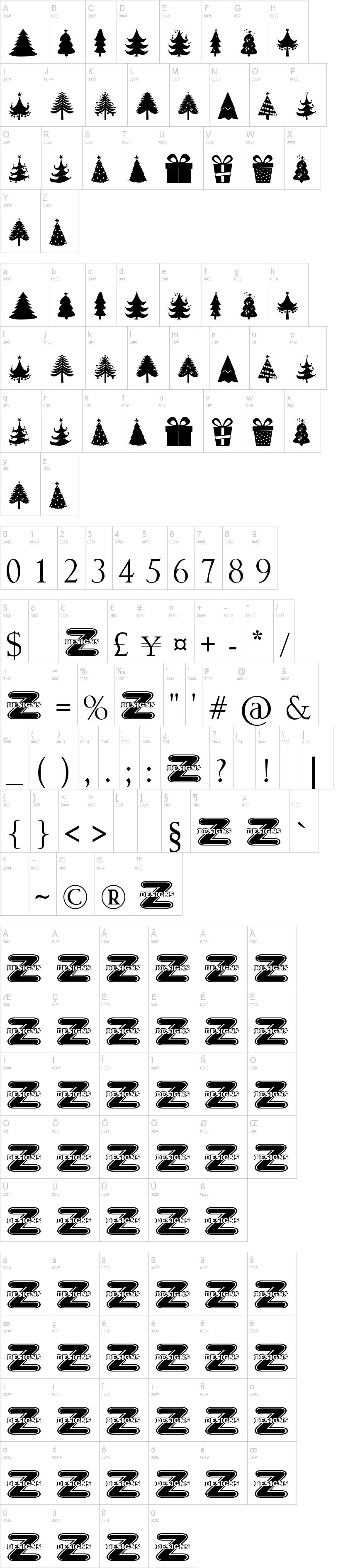 Xmas Tree Schriftarten Plotten