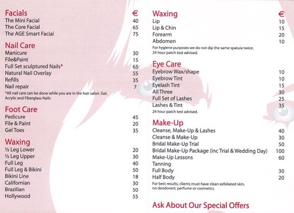 Salon Price List  Salon Price List    Price List